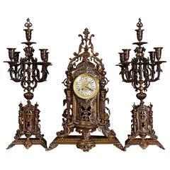 Large Bronze Antique French Clock Set, circa 1880