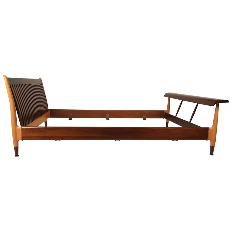 Finn Juhl Full Size Sculpted Maple and Walnut Bed Frame For Sale
