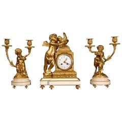 Fine Ormolu and White Marble Clock Set by Vincenti, circa 1890
