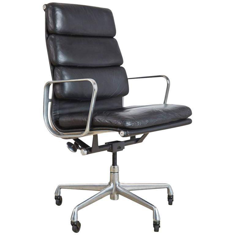 Charles U0026 Ray Eames Leather High Back Soft Pad Executive Chair For Herman Miller For Sale
