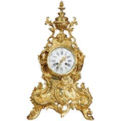 Stunning Large Antique French Gilt Bronze Rococo Clock by Vincenti, circa 1870