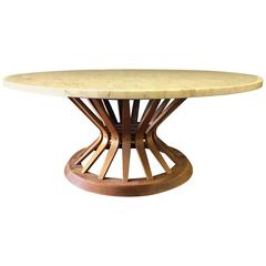 Mid-Century Round Wheatshaft Coffee Table Designed by Edward Wormley for Dunbar