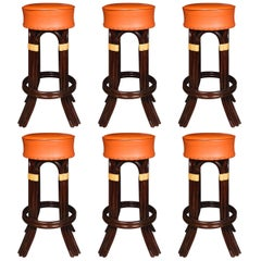 Great Set of Six Bamboo Bar Stools