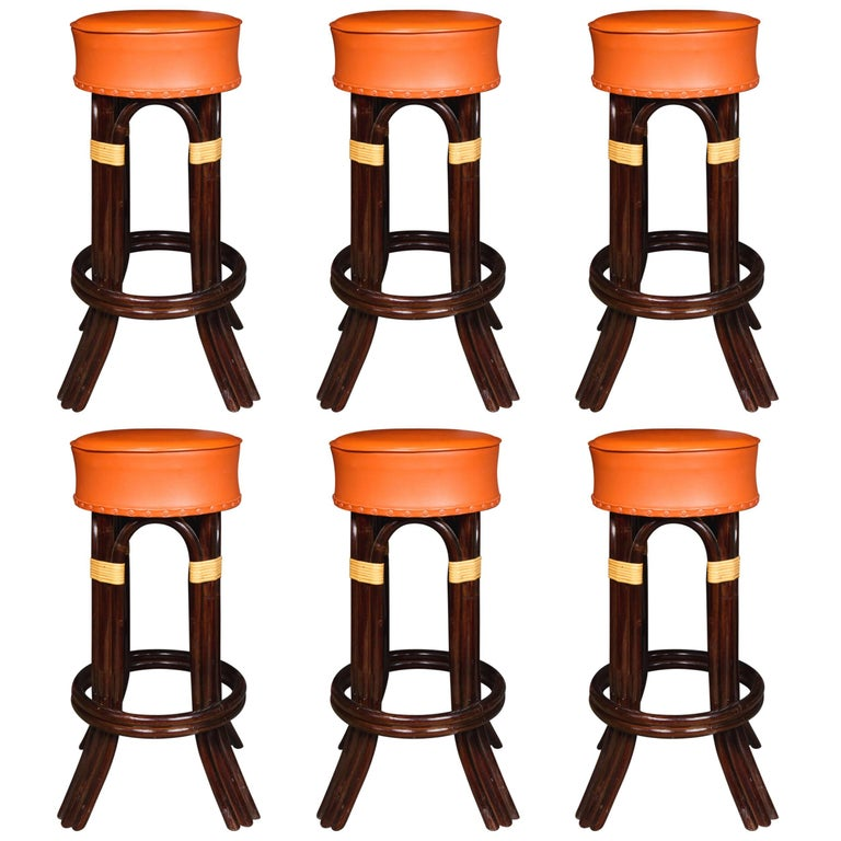 Great Set of Six Bamboo Bar Stools For Sale
