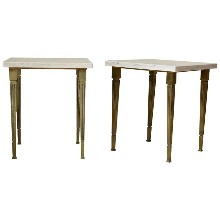 Chic Pair of Solid Brass and Stone Top Side Tables, France, circa 1950s