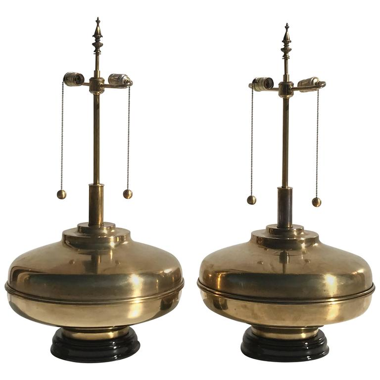 Balmoral Tall Pedestal Lantern Light Antique Brass: Pair Of Giant Patinated Brass Lamps For Sale At 1stdibs