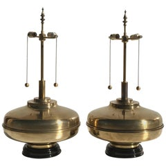 Pair of Giant Patinated Brass Lamps