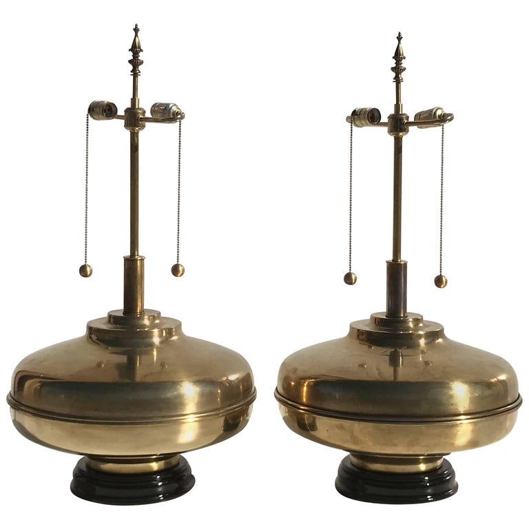 Pair of Giant Patinated Brass Lamps For Sale