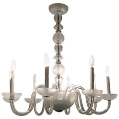Eight-Light Transitional Crystal / Frosted Chandelier
