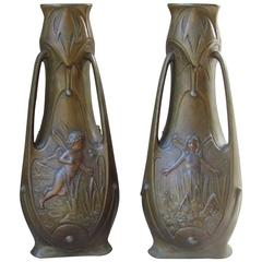 Pair of Art Nouveau Bronze Patinated Vases by J. Garnier, France, 1900