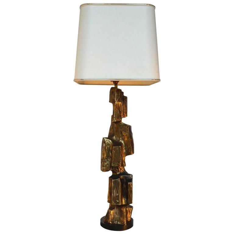 Large Brutalist Cubist Table Lamp by Maurizio Tempestini 1970's