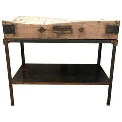 19th Century French Butchers Block with Steel Stand