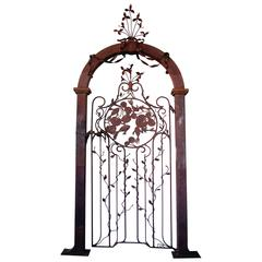 Well-Crafted Custom-Made Wrought Iron Gate W Foliate Vines and Swimming Fish