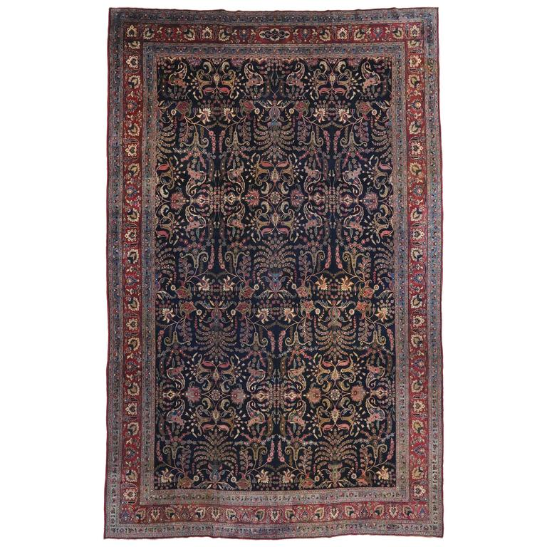 Modern Rugs Vintage: Antique Persian Mashhad Rug With Traditional Modern Style