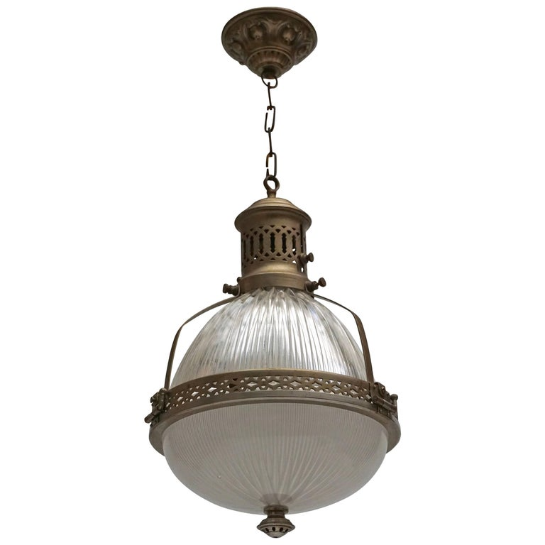 Italian Murano Glass and Brass Pendant Light For Sale