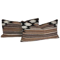 Pair of Brown Striped Navajo Saddle Blanket Pillows