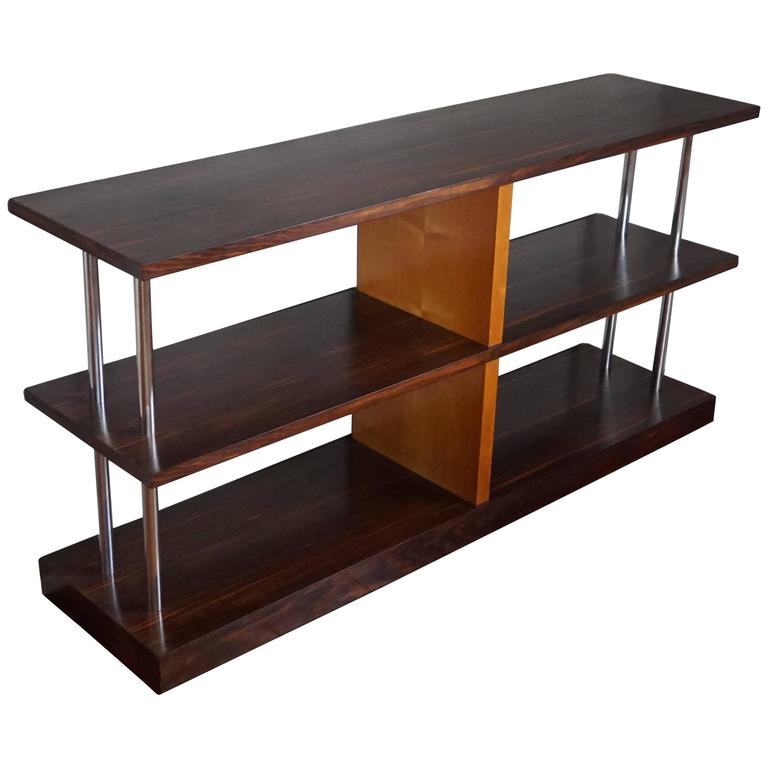 art deco macassar and maple three tier tag re side table. Black Bedroom Furniture Sets. Home Design Ideas