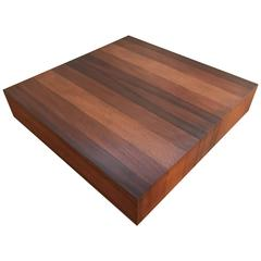 Rosewood, Walnut & Oak Mixed Woods Coffee Table on Black Plinth Base by Dyrlund