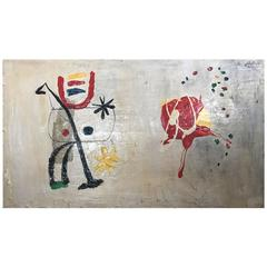 Large Ivor Fox Surrealist Painting in the Manner of Joan Miro