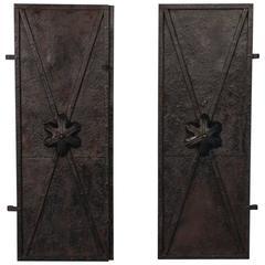 Pair of Antique 19th Century Black Iron Doors