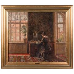 Antique Original Danish Interior Oil Painting, Signed Gerhart Blom