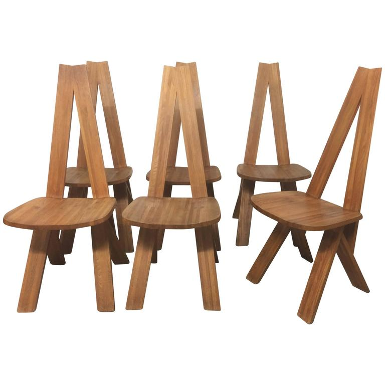 Set of Six Chlacc Dining Chair by Pierre Chapo