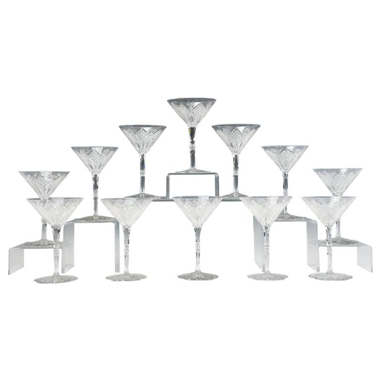 Baccarat Set of 12 Elbeuf Cut Crystal Martini Cocktail Champagne Goblets For Sale