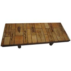 Architectural Wood and Ceramic Coffee Table