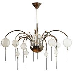 European Modern Glass, Brass and Nickel Six-Light Pescara Chandelier