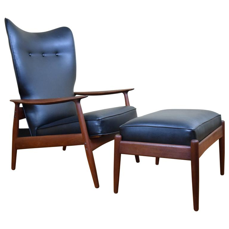 Delightful Danish Adjustable Lounge Chair And Ottoman By K. Rasmussen For Peter Wessel  1