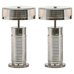 Pair of European Modern Glass,Brass,Nickel Venezia Art Deco-Inspired Table Lamps