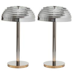 Pair of European Modern Art Deco-Inspired Nickel and Glass Roma Table Lamps