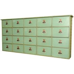 French Industrial 20-Drawer Mercantile Cabinet