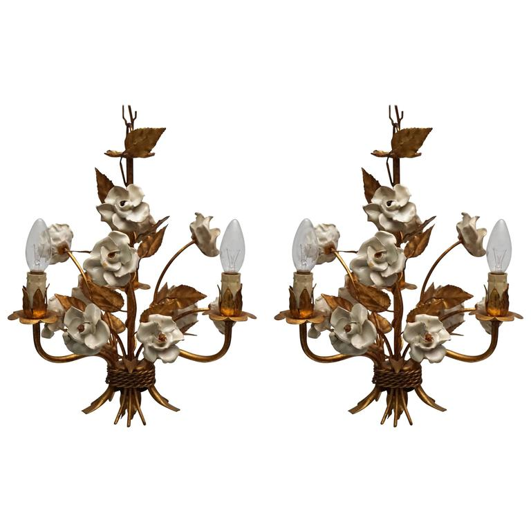 Pair of French Gilt Metal Chandeliers with Porcelain Flowers