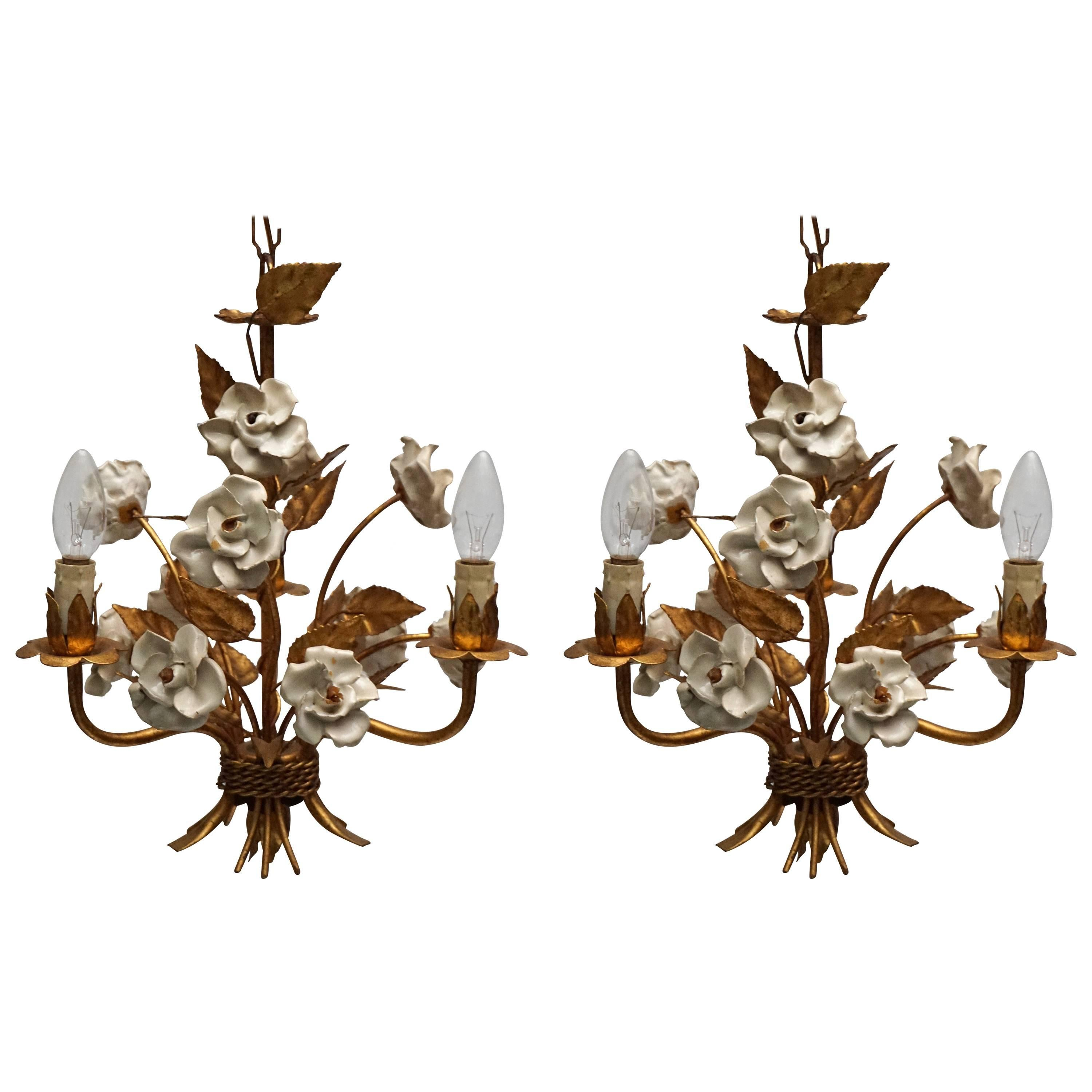 One of Two French Gilt Metal Chandeliers with Porcelain Flowers