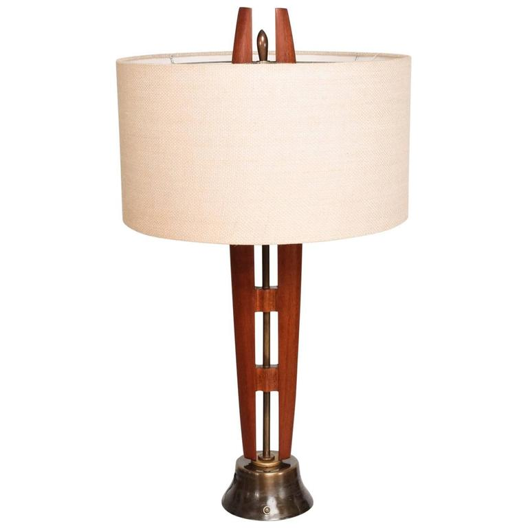 Mexican Modernist Table Lamp Mahogany and Brass
