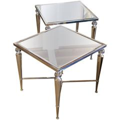 Two Elegant Mirror Top Silver and Glass Ball Tables