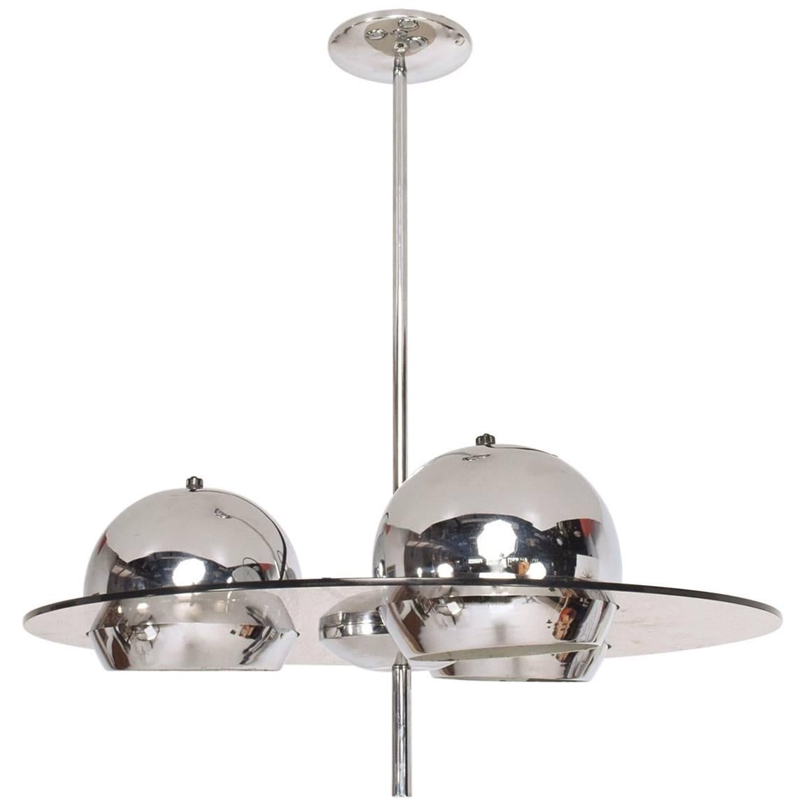 Mid Century Modern Acrylic And Chrome Pendant Light For Sale