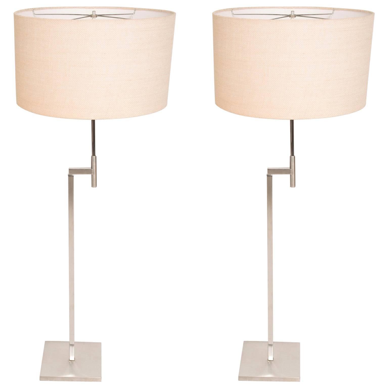 Pair of Laurel Floor Lamps Brushed Nickel Finish