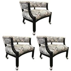 Three Hollywood Regency Lacquered Slipper Chairs