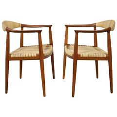 Hans Wegner Round Chairs in Teak and Cane
