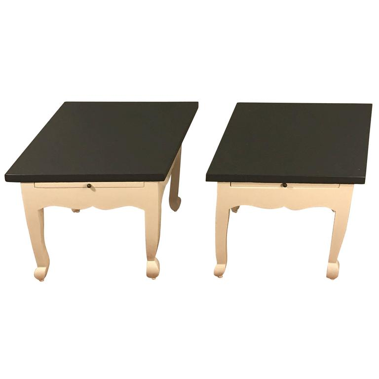 """Diminutive Pair of """"Diamond"""" Lacquered Side Tables"""