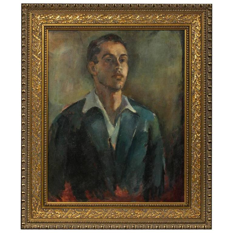 Oil on Canvas Portrait of Handsome Young Man in Suit