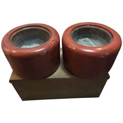 Glistening Old Japan Pair of Antique Red Lacquer Bowls Hibachi Planters Boxed
