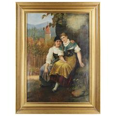 19th Century Genre Scene, Two Girls before Idyllic Village View by C. Rabert