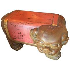 Kyoto Treasure, Japan Hand-Carved Lacquered Red & Gold Shishi Temple Bench, 1925
