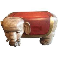 Treasure Find, Hand-Carved Lacquered Red & Gold Gilt Elephant Temple Bench, 1925