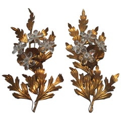 Pair of Sculpture Metal Sconces Crystal Design, 1950s, French