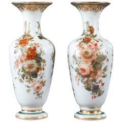 Louis-Philippe Enameled Opaline Vases