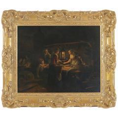 Petrus Van Schendel Oil on Canvas the Avond Market Fishs, circa 1840-1850